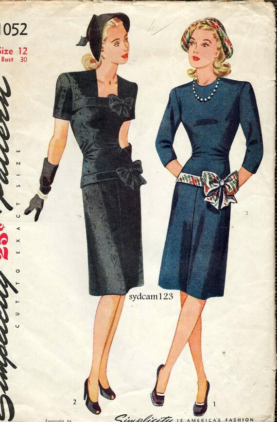 Vintage 1945 Fitted Dress Bodice and Hip Bows...Sleeve Variations...Simplicity 1052 Bust 30