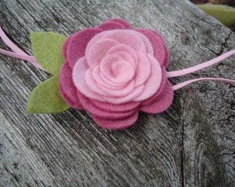 Vintage Wool Felt Flower - English Rose Pinks