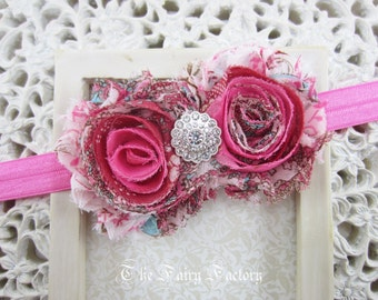 Baby Pink and Hot Pink Vintage Floral Headband, Chiffon Rosettes w/ Silver Crystal Center Headband, Baby Toddler Child Girls Headband Adult