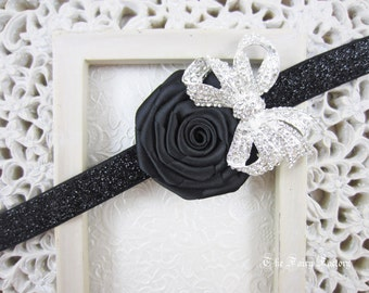 Black Flower Headband, Satin Rose w/ Rhinestone Bow Stretchy Black Glitter Headband, Baby Toddler Child Girls Headband