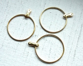 12 Vintage 1970s Round Hoop Earring Attachments // 6 Pairs // Gold Plated