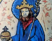 Retablos Mexican folk art St Saint Erik IX King of Sweden - Retablo print -