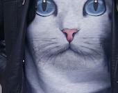 CAT FACE SWEATSHIRT unisex pullover crew neck --  s m l xl xxl xxxl skip n whistle