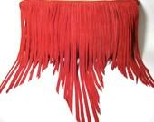 Boho fringe leather clutch- Red suede leather bag