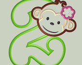 Mod Monkey Girl Applique Design with Number 2