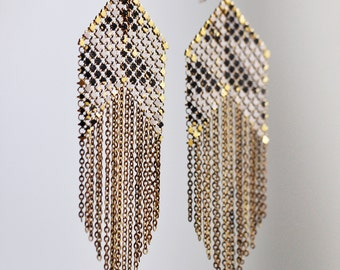 Large Black & White Fringed Banner Vintage Mesh Earrings
