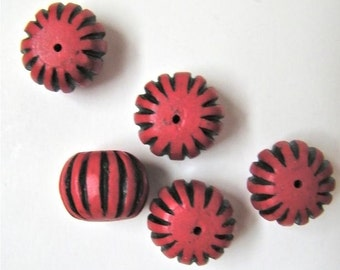 striped faux cinnabar beads - 5