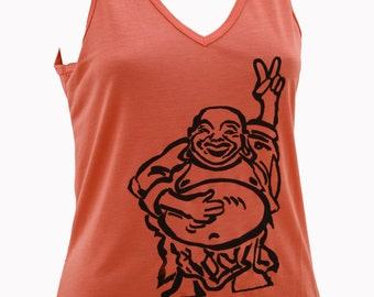 Happy Lucky Buddha| V-neck tank top| Soft| art by MATLEY| Yoga| Hotei| Gift for her| Peace sign buddha.