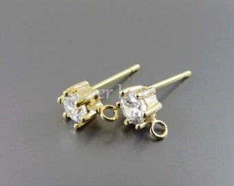 4 Simple 4mm round crystal CZ Cubic Zirconia stud earrings, gold earrings / supplies for earring making 1762G-CL (bright gold, 4 pieces)