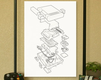 """NES Nintendo Video Game System Poster Technical Illustration 13""""x19"""""""