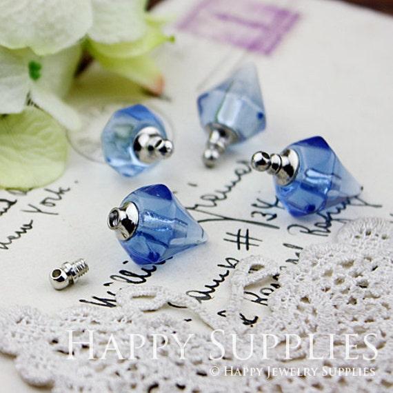 4Pcs Crystal-like Little Glass Diamond Bottles-Pendants (Blue-LD04)