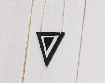 SALE Leather reversed triangle necklace - black & white