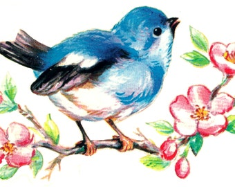 16 Vintage Style Bluebirds and Blossoms Waterslide Decals