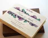 Woodsy Floral Wedding Save the Date Notecards in Pink, Green and Brown - Flat Save The Date Cards (sample)