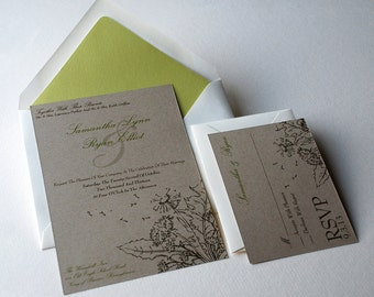 The Willow Collection - Rustic Woodland  Kraft Wedding Invitation Set with Dandelion in Cream, Brown, and Green - SAMPLE