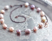 Freshwater pearl necklace in copper