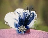Wedding WHITE or Ivory & Royal Blue - Navy Fascinator Comb / Hair Clip. Statement Winter Wedding Bridal Bride Couture. Turquoise Aqua Blue