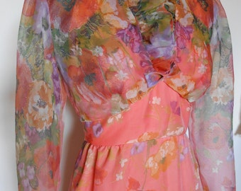 FREE SHIPPINGVintage Orange Print Halter Prom Dress Wedding Dress by McDaniels Size  xs