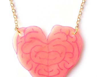 Brain Heart Necklace - Pink Brains, Undead, Anatomical, Zombie, Love, Spooky, Halloween
