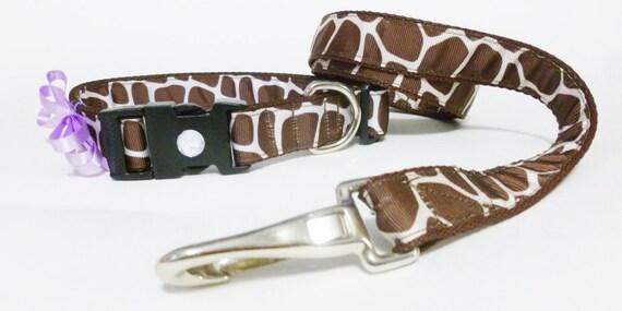 Dog Collar and Leash- Giraffe