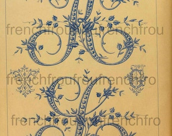 antique french alphabet rose buds letters initials embroidery pattern digital download