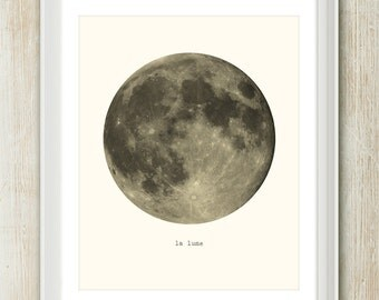 La Lune (French for The Moon) 8x10 inches on A4. Beautiful vintage style typography art poster print.