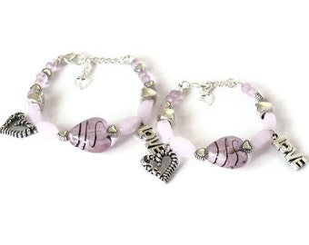 Mom Mother Daughter Sister Granddaughter Grandma Charm Bracelet Set, Pink Hearts, Gifts for Her Under 50, Memorable Gifts, Stocking Stuffers