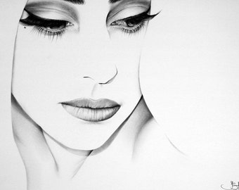 Lady Gaga Minimalism Original Pencil Drawing Fine Art Portrait