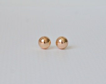 Rose gold ball earrings - designer style 10mm ball stud earrings - pink gold - large ball studs - gift for her - classic jewelry - Caroline