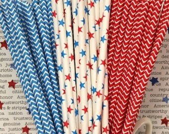 Paper Straws, 25 Oh My Stars, Chevron and Stars Mix, Drinking Straws,  Patriotic Paper Straws, Memorial Day, Fourth of July, Drink Straws