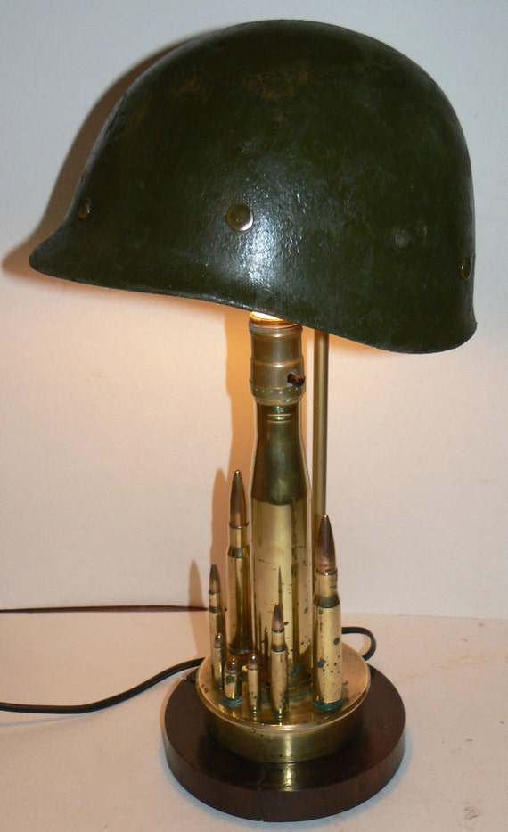 World War Ii Soldier Trench Art Lamp Wwii Base With Helmet