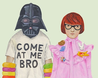 Printed to order -- Fine art print -- Kitty and Darth