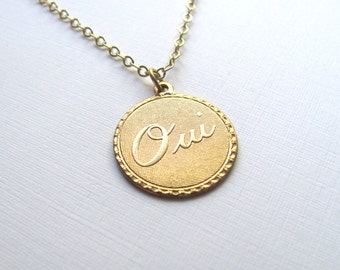 Oui charm necklace on delicate 14k gold fill chain, vintage-inspired, French, gold