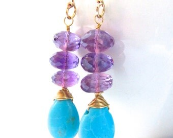 Turquoise Amethyst Earrings 14k Gold Fill Wire Wrapped Stacked Gemstone Aqua Blue Purple Jewelry