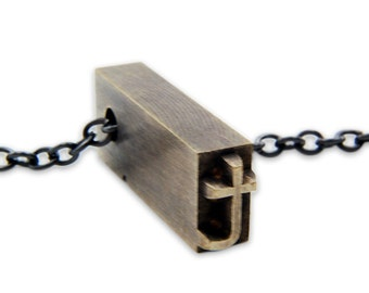 Letter T  Letterpress Necklace - Brass Initial Personalized - Other Letters Available GDJ