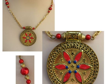 Celtic Gold & Red Flower Pendant Necklace Jewelry Handmade Accessories