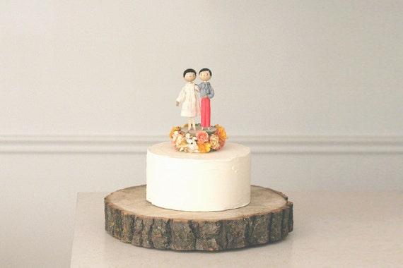 Custom Same Sex Wedding Cake Topper with 2x CUSTOM CLOTHING