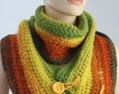 Crochet Multicolor Chunky  Scarf -  Cowl Scarf - Neck Warmer - Infinity Scarf