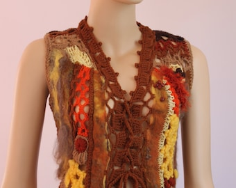 Nuno Felting Freeform Crochet  Vest   Sweater - Gypsy Sweater -Wearable Art - OOAK