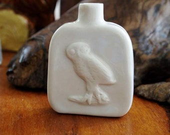 miniature owl bottle, rustic hand made and one of a kind white porcelain for perfume, oil etc by Anita Reay