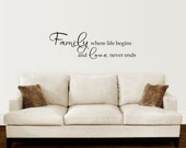 Family Wall Decal - Family where life begins and love never ends decal - Living Room Wall Sticker - Large
