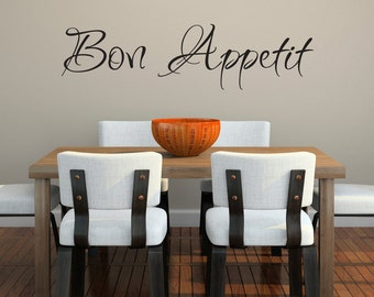 Bon Appetit Wall Decal - Kitchen Decor - French Wall Art - Dining Room Decal - Extra Large