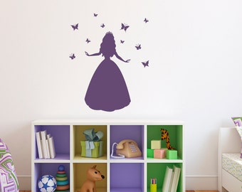 Princess Wall Decal with Butterflies - Butterfly Vinyl Wall Art - Children Wall Decals - Medium