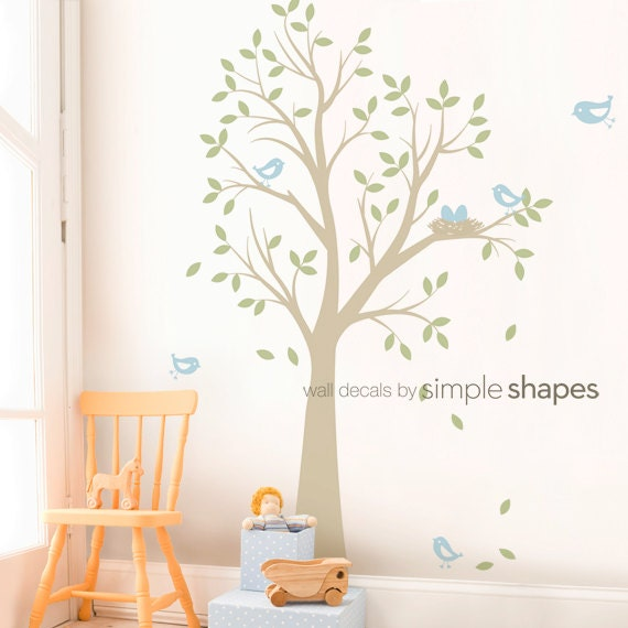 Tree Wall Decal with Birds and Nest - Nursery Decor