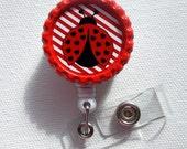 Ladybug - Retractable Nursing Badge - Name Badge Holder - Nursing Badge Clip - Teacher Badge Holder - Bottle Cap Badge