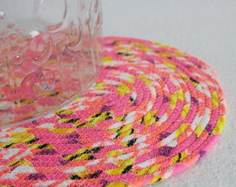 Fabric Coiled Mat / Placemat / Hot Pad / Trivet / Neon Brights Oval Coiled Mat by PrairieThreads