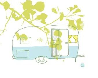carococo / vintage trailer 10x8  / illustration by Carol-Anne Pedneault