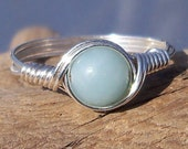 Blue Amazonite Ring, B Grade Amazonite Ring, Argentium Sterling Silver Ring,  Wire Wrapped Ring