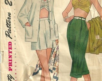Simplicity 3250 / Vintage 50s Sewing Pattern / Bra Top Shorts Beach Jacket / Size 14