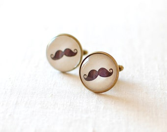 SALE -50% OFF. Mustache Cufflinks. Black Curly Moustache Cufflinks. Funny Cuff Links for Men.  Men Jewelery.